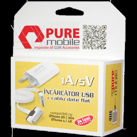 Imagine Pachet 11 x 1A 5V (Incarcator USB + cablu date flat) iphone4