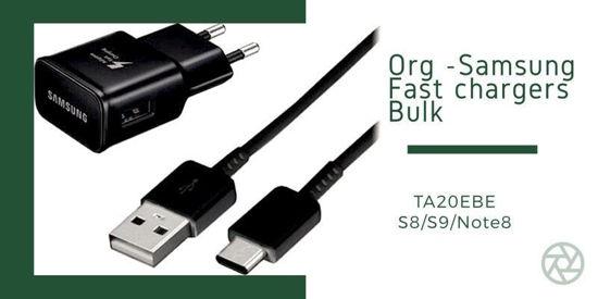 Imagine Original Wall Charger Samsung Galaxy Fast Charge (EP-TA20EBEUGWW) USB TYP-C   9V/2A S8/S8+/S9/S9+ BULK ,(NEGRU.ALB)