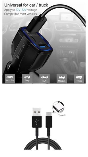 Imagine  FAST CAR  CHARGERS 12V/3.5A +Cablu date TYPC s10,note10,s9,s8,note8,9