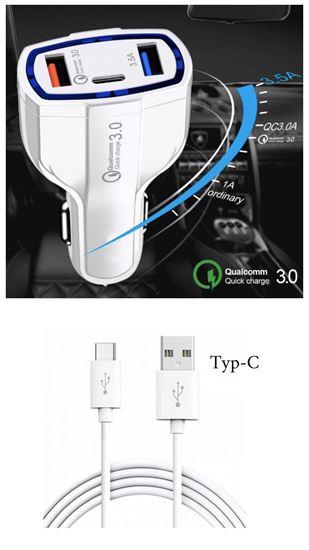 Imagine  PACHET 11X - FAST CAR CHARGERS 12V/3.5A +CABLU DATE TYPE-C  Pentru GALAXY Note 9,8,S10,S10+,S9,S8,S9+    (10+1 GRATIS)