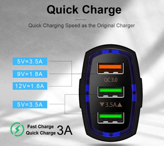 Imagine   FAST CAR CHARGERS 12V/3.5A +Pentru  GALAXY S10,S8/S9  ALB/NEGRU