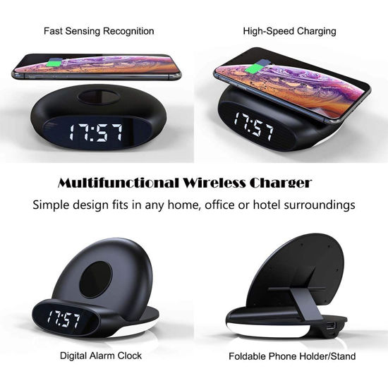 Imagine Incarcator wireless pliabil 4 in 1 Ceas cu alarma si lumina de noapte, Stand , placa de incarcare wireless ,10W