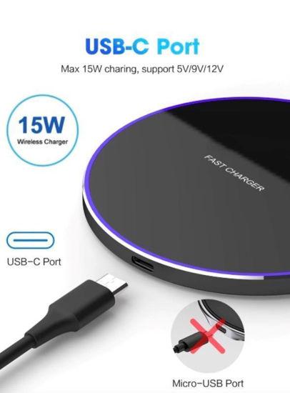 Imagine Set  Incarcator Wireless Fast Charging Pad QI 15W + 18w 3.0 Adaptor  fast  charger pentru iPhone, Samsung Galaxy, Round Black